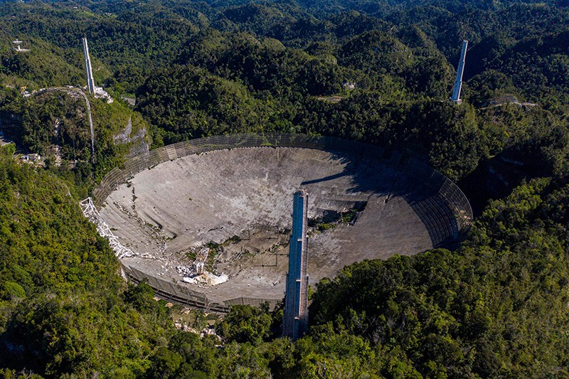 Damage at the Arecibo Observatory after one of the main cables holding the receiver broke in Arecibo, Puerto Rico