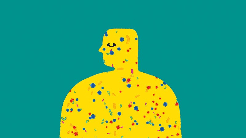 Illustration of a human figure with their skin composed of microbes