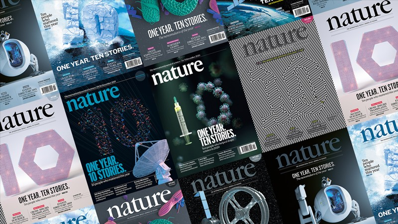 Composite images of Nature covers featuring artwork depicting the number ten