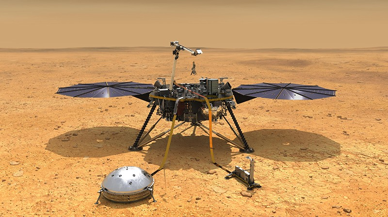 An illustration of NASA's InSight spacecraft with its instruments deployed on the Martian surface