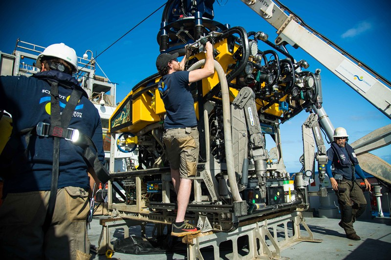 John Fulmer works on ROV SuBastian on the RV Falkor near the Great Barrier Reef