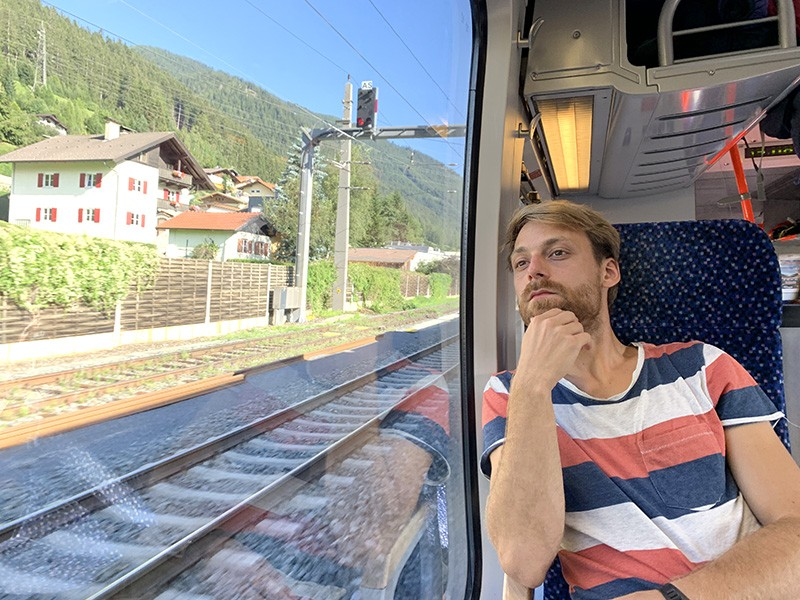 Milan Klöwer on a train through the Alps