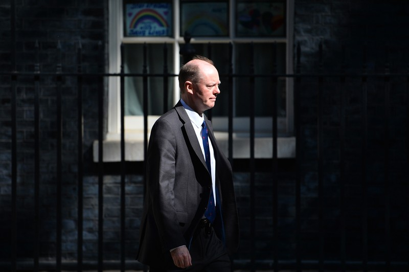 Chris Whitty leaving the daily Covid-19 meeting at No.10 Downing Street