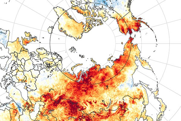 Map showing land surface temperature anomalies from 19 March to 20 June 2020