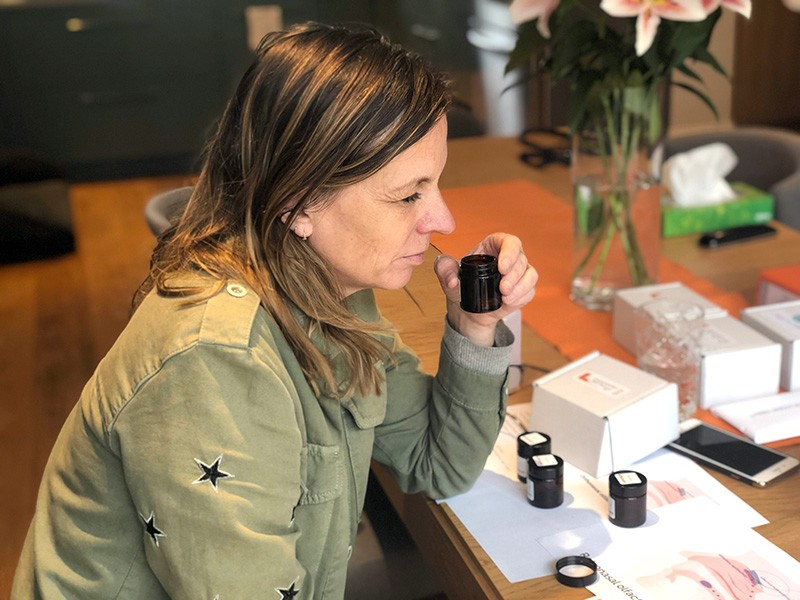 Women using AbSecent scent products