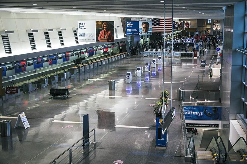 An empty terminal at Logan International Airport in Boston