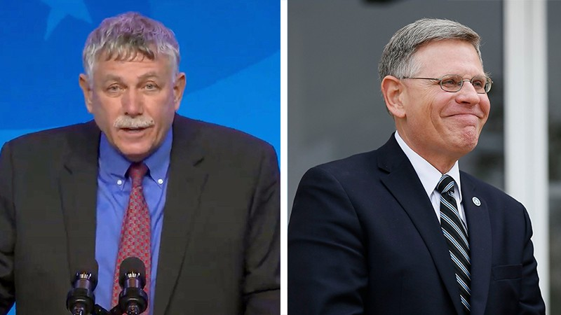 Eric Lander on the left and Kelvin Droegemeier on the right in this two photo composite
