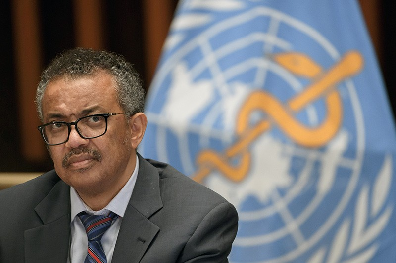 World Health Organization (WHO) Director-General Tedros Adhanom Ghebreyesus at a news conference
