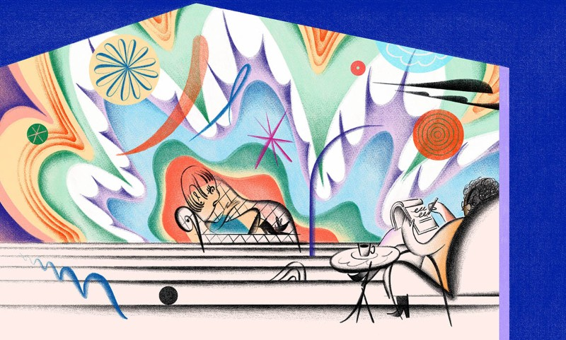 Cartoon showing a patient on couch with a therapist taking notes and a vivid coloured background.