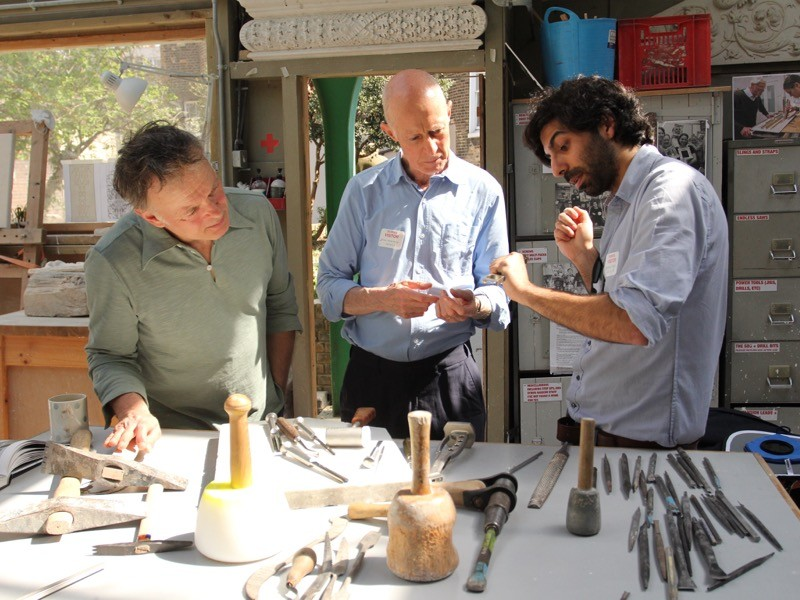 Roger Kneebone at the City & Guilds of London Art School at an event arranged with stone carvers and orthopaedic surgeons.