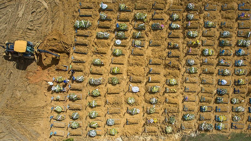 Mass graves of Covid-19 victims at a cemetery in Manaus, Brazil
