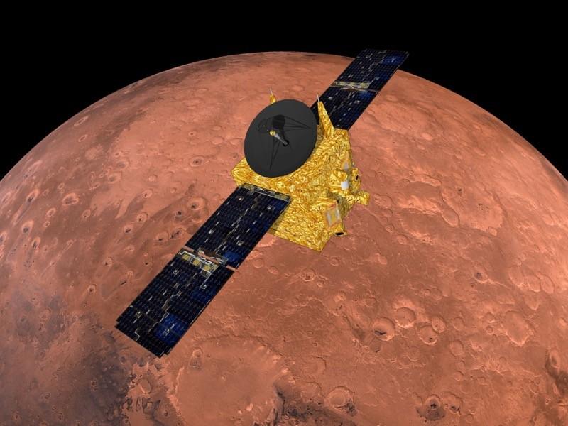 """図 """"アルアマル"""" (アラビア語で希望)UAE初の任務である火星に到着。"""