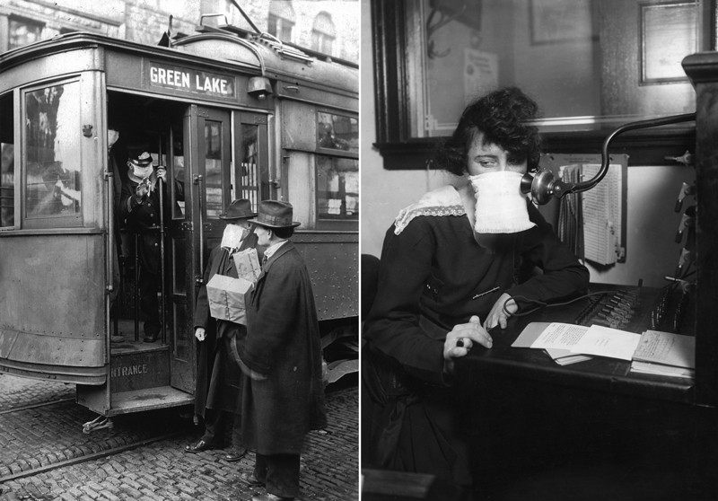 Diptych of 1918 photos showing (left) a streetcar conductor and passengers and (right) a telephone operator wearing face masks