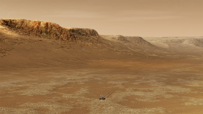 Illustration of a rover on a desert landscape, surrounded by outcrops.