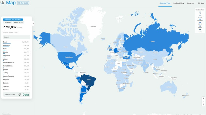 Global map of line list cases contained in the Global.health COVID-19 database.
