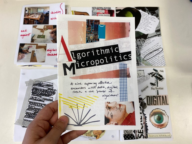 Cover page of a zine on algorithms, apps and social media.