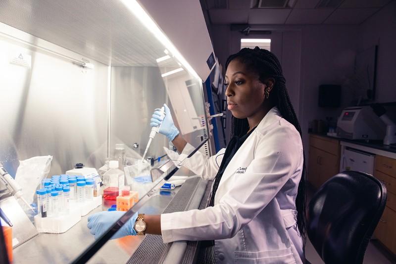 Desiree Leach in her laboratory