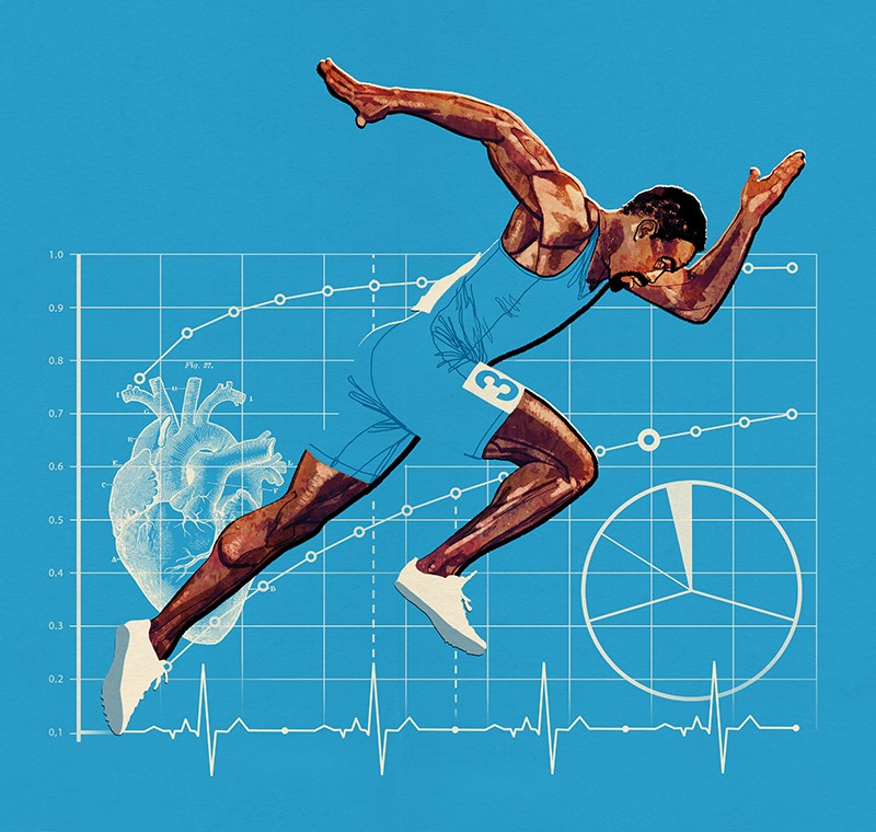 A male athlete runs in front of a series of charts on a blue background
