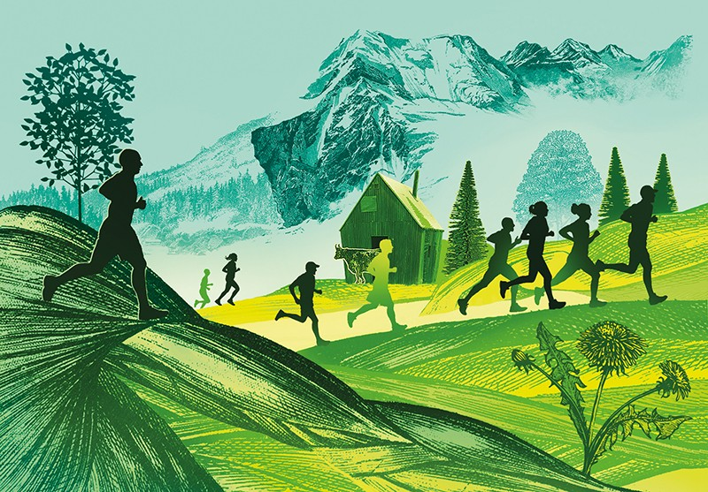 Illustration of runners on a landscape of muscle