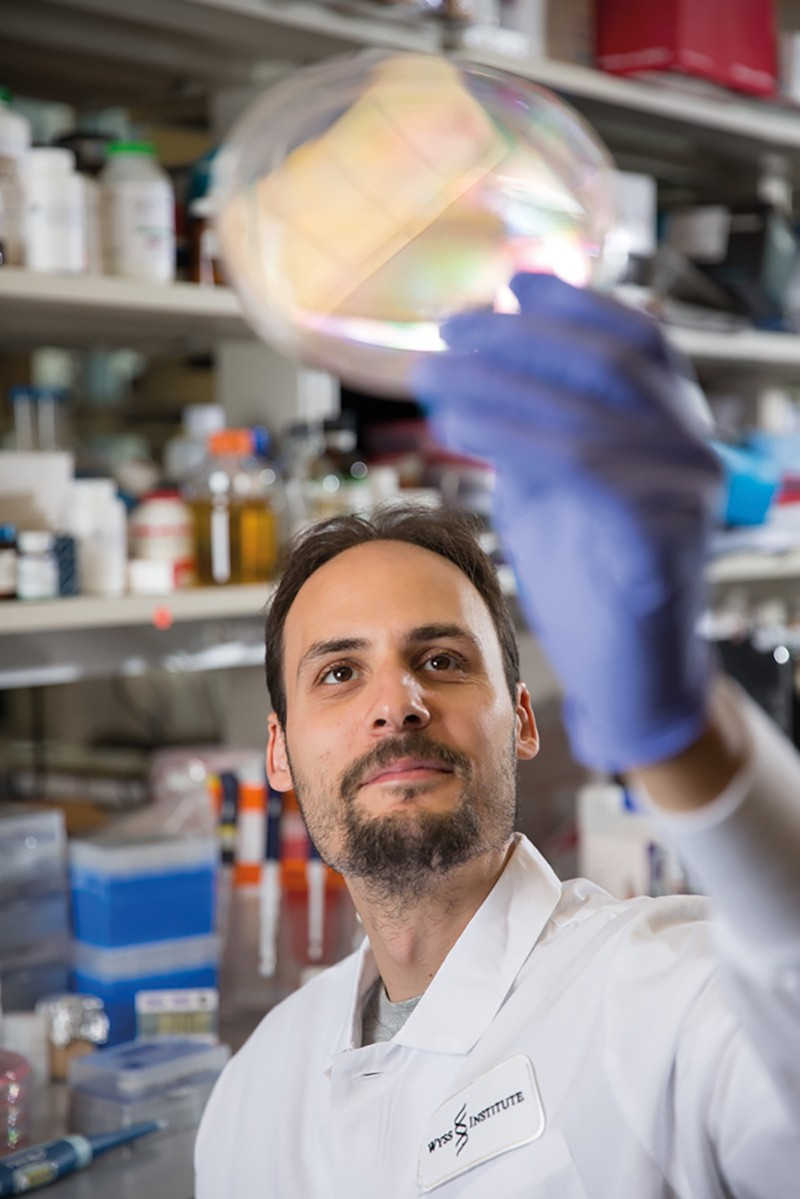 Jonathan Scheiman holds a Petri dish up to the light