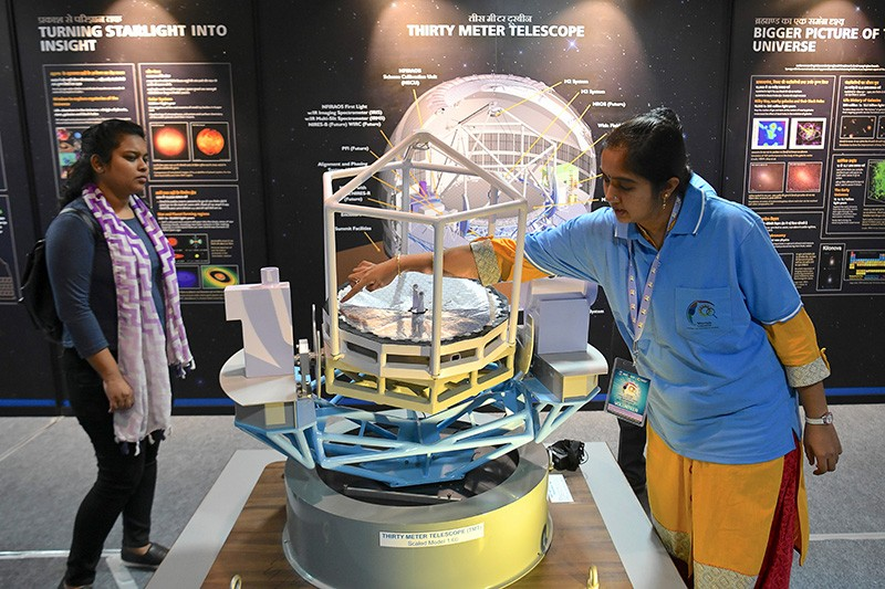 Visitors at a multi-venue mega-science exhibition in India