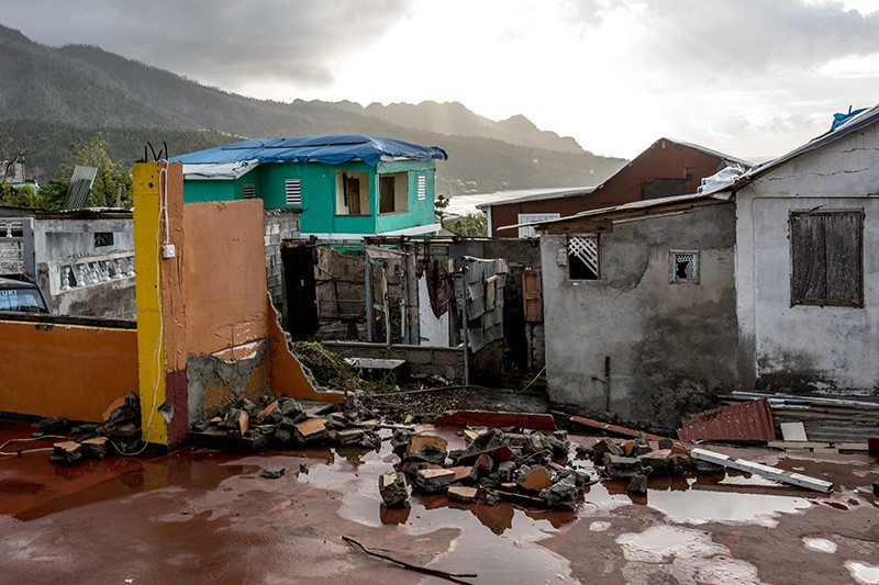 A house destroyed by Hurricane Maria in Grand Bay, Dominica, 2018