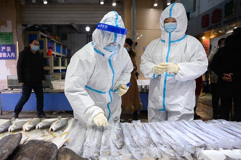 Health officers wearing personal protective equipment (PPE) collect COVID-19 coronavirus test samples at a fresh market in China