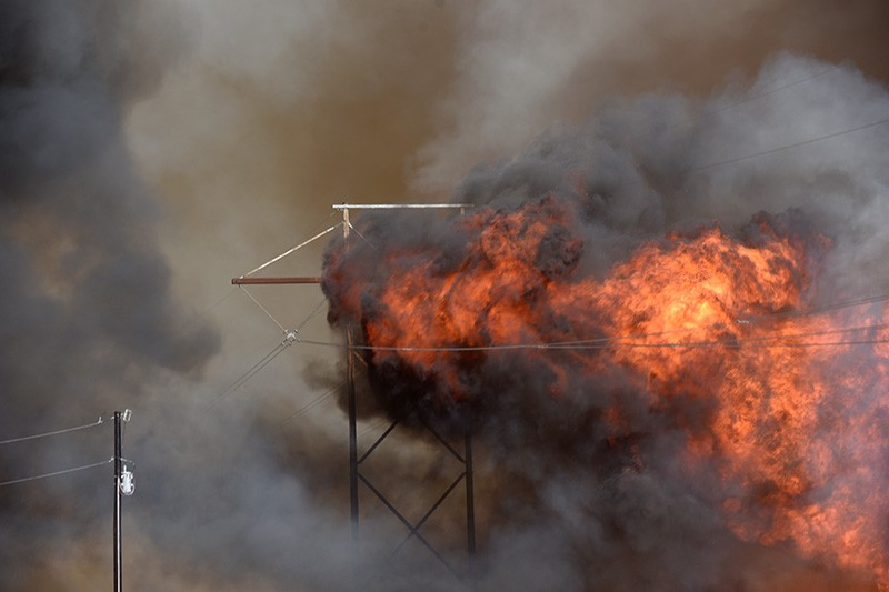 A fire burns an electricity pylon in Oklahoma, US