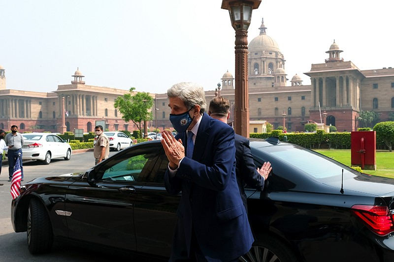 John Kerry, US special presidential envoy for climate, arrives at the Ministry of Finance in New Delhi, India