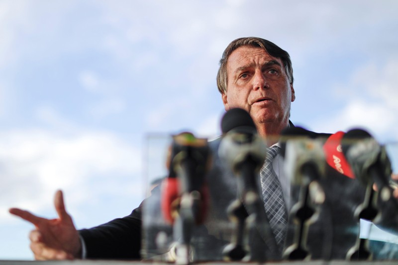 Brazil's President Jair Bolsonaro speaking at a press conference
