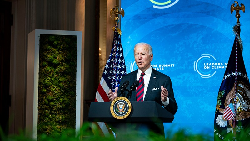U.S. President Joe Biden delivers remarks during a virtual Leaders Summit on Climate