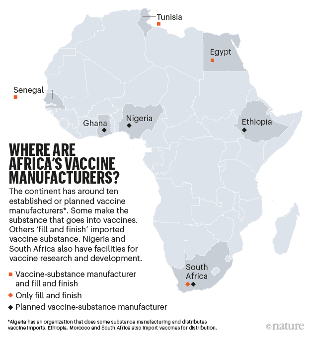 Where are Africa's vaccine manufacturers?: Map of Africa showing countries where there is capacity to produce vaccines