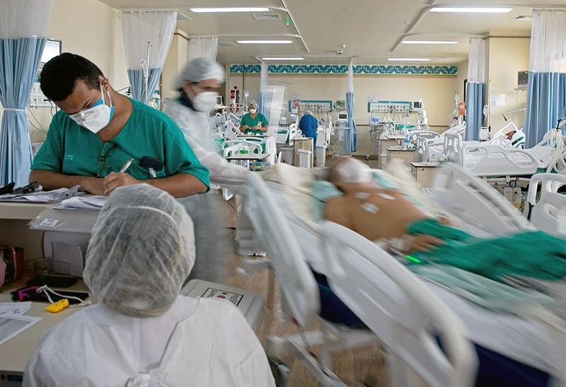 Medical workers and COVID-19 patients at the Dr. Abelardo Santos Regional Hospital in Belem, Para state, Brazil