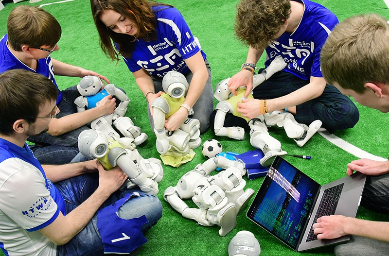 "The Nao-Team of the University of Applied Sciences with their robots at ""Robo Cup German Open"" 2020."