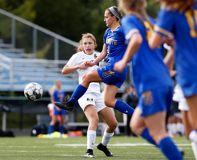 High school girls football match in the US