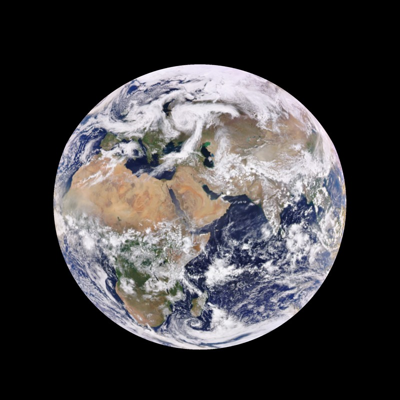 Enhanced-colour image of Earth from space.