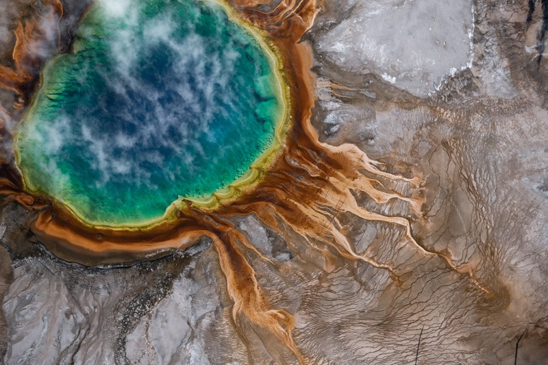 Aerial view of the Grand Prismatic hot spring in Yellowstone national park, USA
