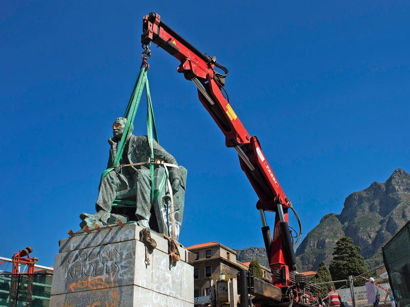 A statue of Cecil John Rhodes was removed from the campus of the University of Cape Town in 2015.Credit: Rodger Bosch/AFP/Getty