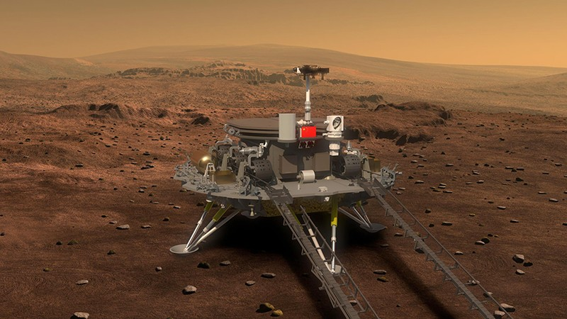 Çin Devlet İdaresinin Mars gezgini ve Mars'a iniş aracının çizimi