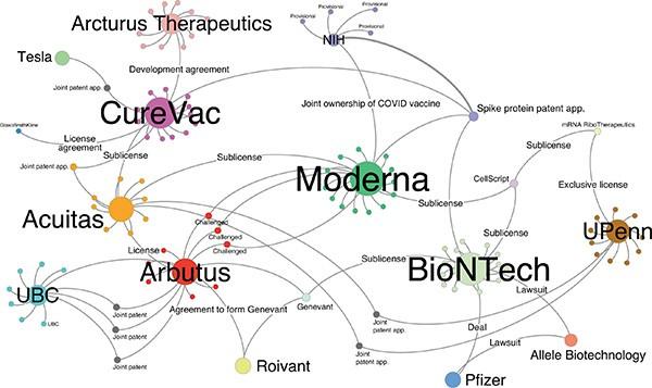 Ağ hatları, Moderna, BioNTech ve diğer mRNA aşılarını temsil eden düğümleri birbirine bağlar.