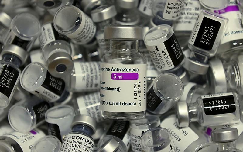 Empty vials of COVID-19 vaccines.
