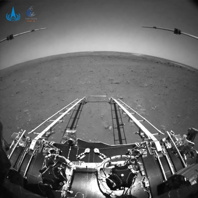View from the Zhurong Mars rover of its landing platform and departure ramp