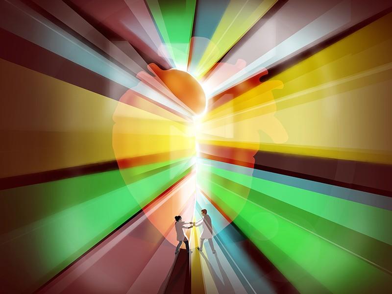 Bir kalbin hayaletimsi bir görüntüsü iki araştırmacının üzerinde duruyor