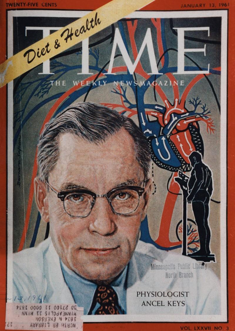 Ancel Keys'in bir portresini içeren Time'ın ön kapağı