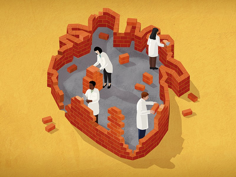 Illustration of scientists in lab coats building a heart shape out of bricks