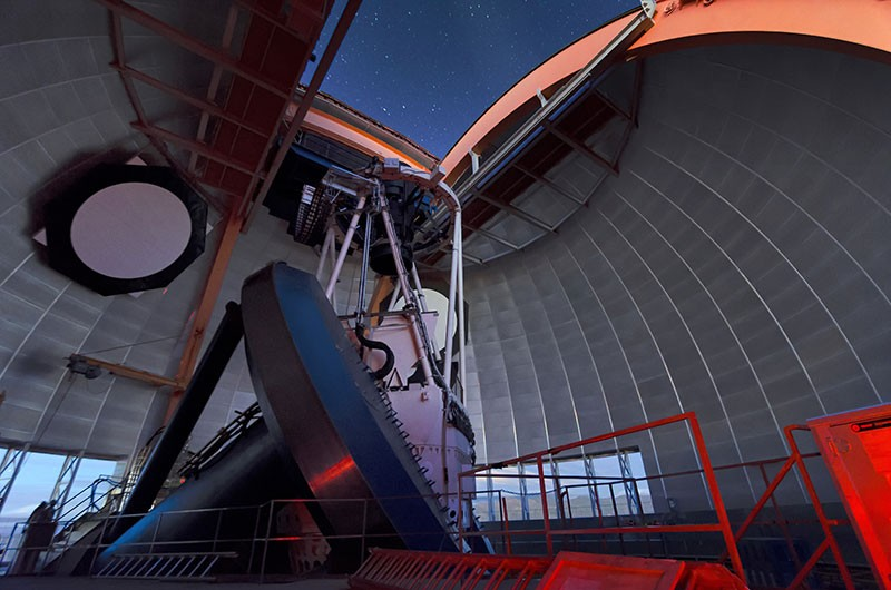 View from inside the dome of the Víctor M. Blanco 4-meter Telescope at the Cerro Tololo Inter-American Observatory.