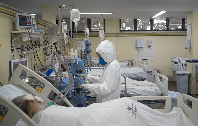 The COVID-19 intensive Care Unit with patients and caregivers in Rio De Janeiro, Brazil on May 27, 2021