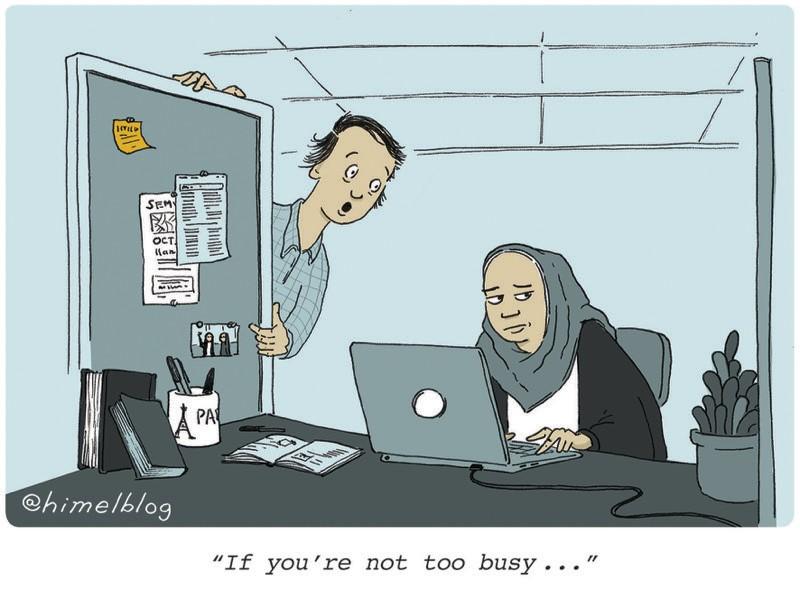 """Karikatür: Bir kişi diğerinin ofis bölmesine eğilir.  Altyazı: """"Çok meşgul değilseniz..."""""""