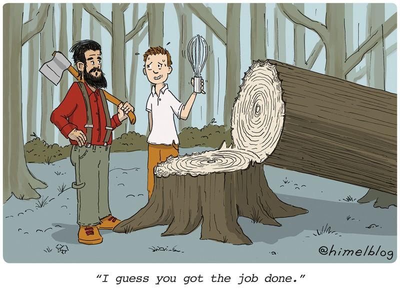 """Altyazı: Bir oduncu, kötü doğranmış bir ağacın yanında çırpma teli tutan biriyle konuşuyor.  Altyazı: """"Sanırım işi hallettin."""""""