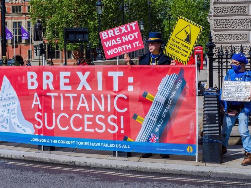 Brexit karşıtı Steve Bray, Londra'daki Parlamento Evleri'nin önünde pankartlar ve pankartlarla kampanya yürütürken görülüyor.